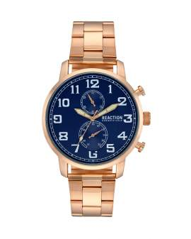 Reaction Kenneth Cole Analogo Metal Oro Rosa y Dial Azul...