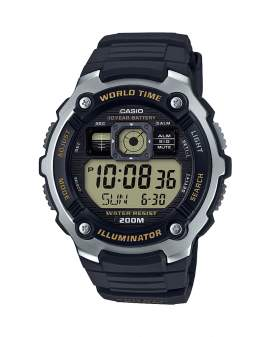 Casio Illuminator World Time 20 Bar Negro de Hombre AE-2000W-9A
