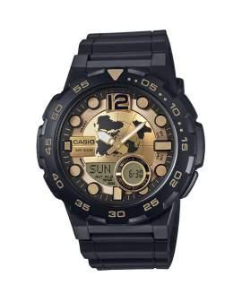 Casio Analogo Digital Negro y Dorado de Hombre AEQ-100BW-9A