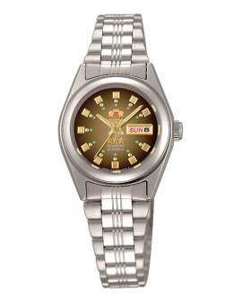 Orient 3 Star Crystal Plateado Dial Cafe de Mujer FNQ1X003X