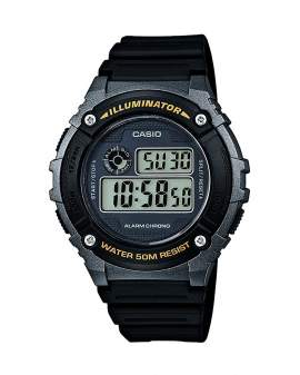 Casio Illuminator Digital Gris y Negro de Hombre W-216H-1B
