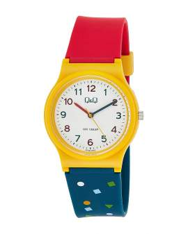 Q&Q Resina Tricolor Rojo Amarillo Azul Unisex VP46J050Y