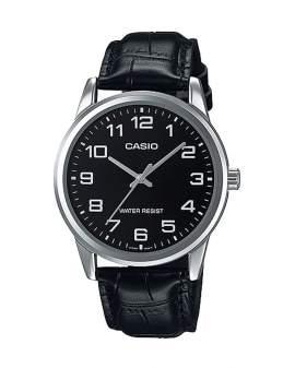 Casio Standard Plateado y Cuero Negro de Hombre MTP-V001L-1B