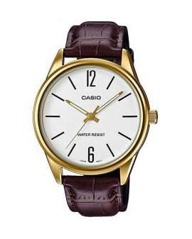 Casio Standard Dorado y Cuero Cafe de Hombre MTP-V005GL7B