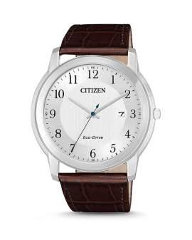 Citizen Eco Drive Plateado y Cuero Cafe de Hombre AW1211-12A