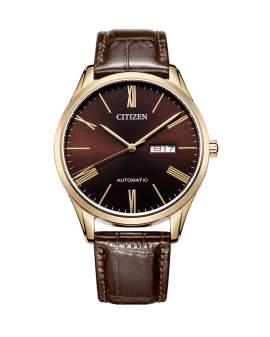Citizen Automatico Dorado y Cuero Chocolate de Hombre...