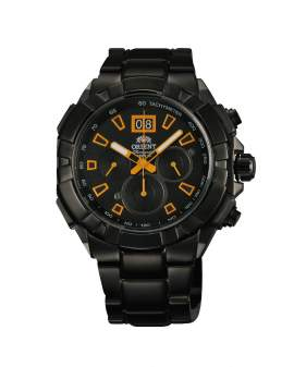 Orient Cronografo Negro y Naranja de Hombre FTV00006B