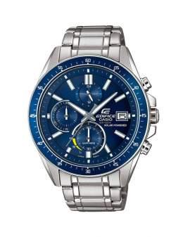 Edifice Cronografo Solar Sapphire Plateado y Azul de...
