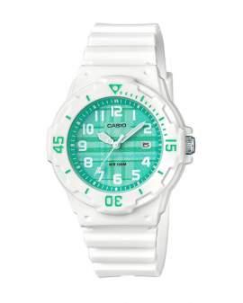 Casio Analogo Blanco y Verde de Mujer LRW-200H-3C